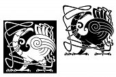 picture of angry bird  - Angry bird in celtic style with ornamental patterns and tracery - JPG