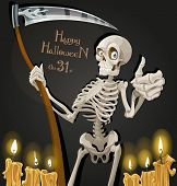 Death is a skeleton with a scythe - Halloween party invitation
