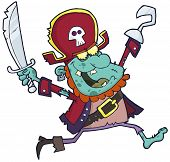 Blue Cartoon Pirate Zombie