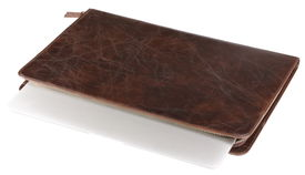 stock photo of crocodilian  - notebook in leather crocodilian notebook cover isolated - JPG