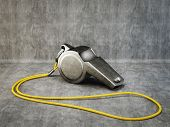 stock photo of umpire  - metal whistle isolated on a grey background - JPG
