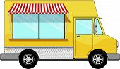 picture of food truck  - yellow food bus with awning isolated on white background - JPG