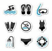 stock photo of speedo  - Sport black and blue labels set  - JPG