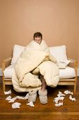 image of housecoat  - This image shows a man sick with the flu - JPG
