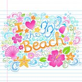 picture of beach shell art  - I Love the Beach Tropical Summer Vacation Sketchy Notebook Doodles with Hibiscus Flower - JPG