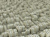 picture of billion  - Many paks of dollars in stacks on ground - JPG