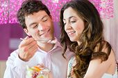 stock photo of ice cream parlor  - Young Couple in a Cafe or Ice cream parlor - JPG
