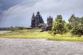 stock photo of diffraction  - View ashore and the Orthodox temple island Kizhi after a rain - JPG