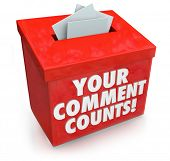 image of submissive  - Your Comment Counts words on a red suggestion box to illustrate the value and importance of feedback - JPG