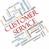 pic of rep  - Customer Service Word Cloud Concept angled with great terms such as call center help staff rep and more - JPG