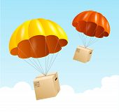 Vector parachute background. Air shipping concept