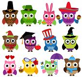 stock photo of owls  - Vector Set of Cute Holiday and Seasonal Owls - JPG