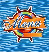 stock photo of rudder  - restaurant menu whit rudder on sea background - JPG