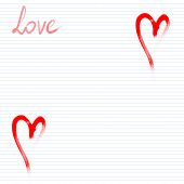 Notepad card with heart and love