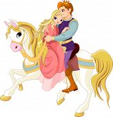 stock photo of prince charming  - Prince and princess  on white horse - JPG