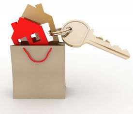 stock photo of tenement  - 3d model house symbol set in a paper shopping bag and key - JPG