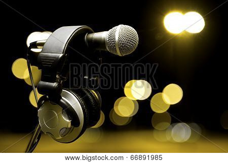 Headphones and microphone poster