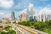 stock photo of petronas towers  - Kuala Lumpur skyline - JPG