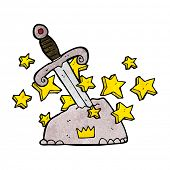 stock photo of arthurian  - cartoon magical sword in stone - JPG