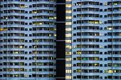 foto of asymmetric  - Asymmetrical Resident building tight room at night