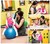 pic of montessori school  - Mother and child girl playing in kindergarten in Montessori preschool Class - JPG