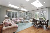pic of screen-porch  - Porch in suburban home with sliding doors to patio - JPG