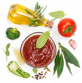 stock photo of homogeneous  - Red sauce and the ingredients  - JPG