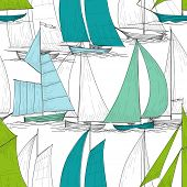 picture of galleon  - Boats seamless pattern vector - JPG
