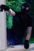 image of sneaky  - A burglar enters the house through the window - JPG