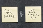 picture of proverb  - cut your losses and let your profits run proverb interpretation handwritten on sticker notes - JPG