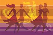 picture of waltzing  - Colorful background with three dancing couples - JPG