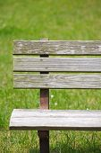 stock photo of pubic  - Wooden bench at pubic park in summer season - JPG