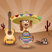 stock photo of mexican-dog  - an illustration of Mexican dog with guitar and maracas - JPG