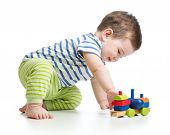 stock photo of pretty-boy  - baby boy playing with color block toys - JPG