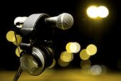 foto of microphone  - live music background - JPG
