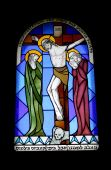 image of the lost sheep  - Stained glass window in the monastery of benedictines 19th century - JPG