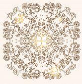 picture of symmetrical  - decorative postcard pattern in a circle symmetric linear flowers - JPG