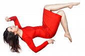 image of sag  - The woman laughs and flies or falls on a white background - JPG