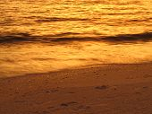 pic of wispy  - Wispy golden sunset wave at Vanderbilt Beach - JPG