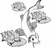 stock photo of koi tattoo  - Koi fish with three flowers of lotus created in Line Art - JPG