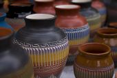 picture of pottery  - Southwestern pottery on display in Santa Fe - JPG