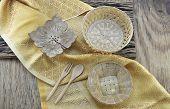 foto of handicrafts  - thai handicraft on yellow fabric wooden background - JPG
