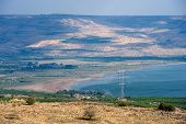 image of golan-heights  - Northern part of the lake of Galilee as seen from the west on the back are hills of the Golan Heights - JPG