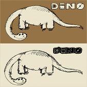 picture of dinosaur skeleton  - doodle dinosaur - JPG