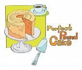 stock photo of cake stand  - sliced cake on cake stand with a cup of tea and a spatula - JPG