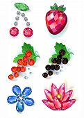 stock photo of brooch  - Set of summertime fruit flowers colored gems brooches isolated on white background vector illustration - JPG