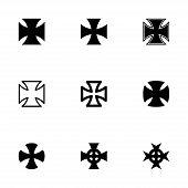 image of maltese-cross  - Vector black choppers crosses icon set on white background - JPG