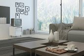image of settee  - 3D Rendering of White Coffee cup and decorative vases on wooden table at the architectural living room with television at the side near the wall - JPG