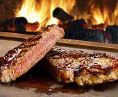 stock photo of porterhouse steak  - Grilled beef steak - JPG