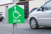 picture of disabled person  - Symbol of the parking lot, no parking on site for a disabled persons.